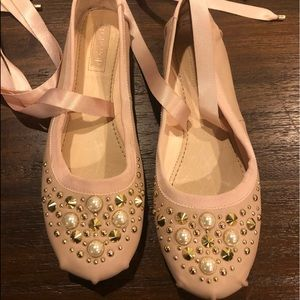 Blush Lace-Up Ballet Flats w/ Pearl Embellishments